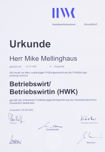 Urkunde Betriebswirt Mike Mellinghaus