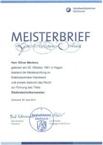 Meisterbrief Oliver Mertens