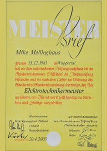 Meisterbrief Mike Mellinghaus