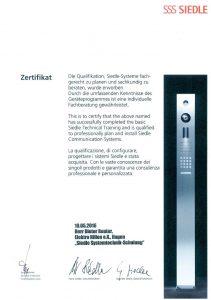 Zertifikat Dieter Reuter Siedle Elektro Hillen